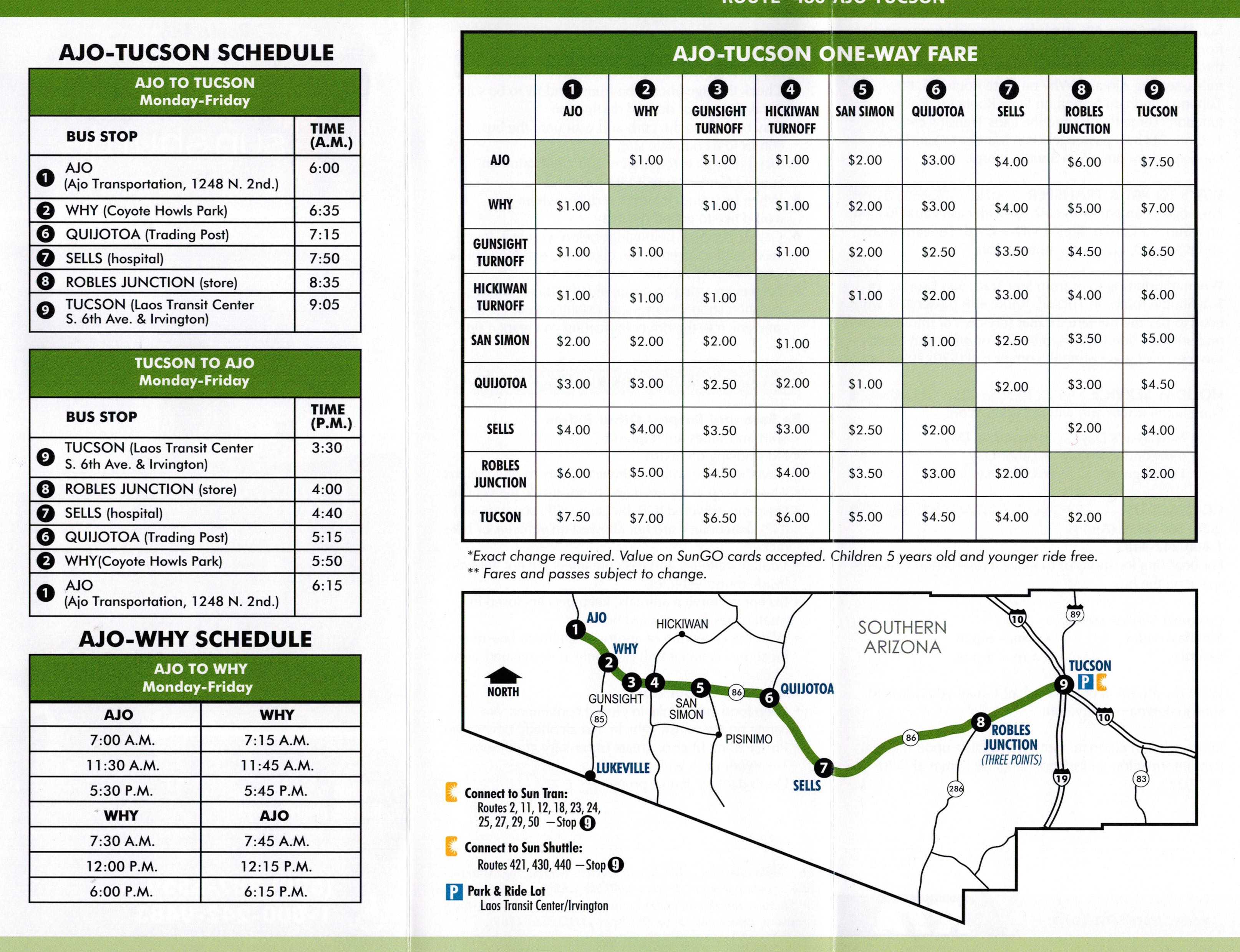 tucson route 486 bus schedule – ajo transportation